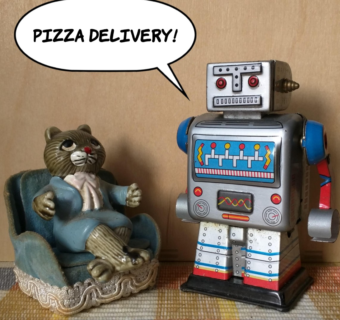 Robot says: Pizza delivery!
